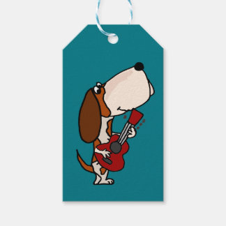Funny Basset Hound dog Playing Guitar Gift Tags