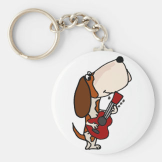 Funny Basset Hound dog Playing Guitar Keychain