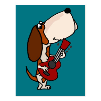 Funny Basset Hound dog Playing Guitar Postcard