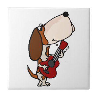 Funny Basset Hound dog Playing Guitar Tile