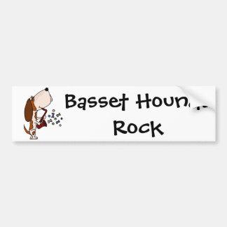 Funny Basset Hound Dog Playing Saxophone Bumper Sticker