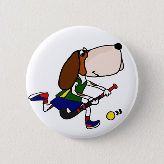 Funny Basset Hound Playing Field Hockey Art 2 Inch Round Button