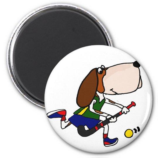 Funny Basset Hound Playing Field Hockey Art 2 Inch Round Magnet