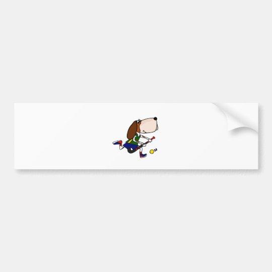 Funny Basset Hound Playing Field Hockey Art Bumper Sticker
