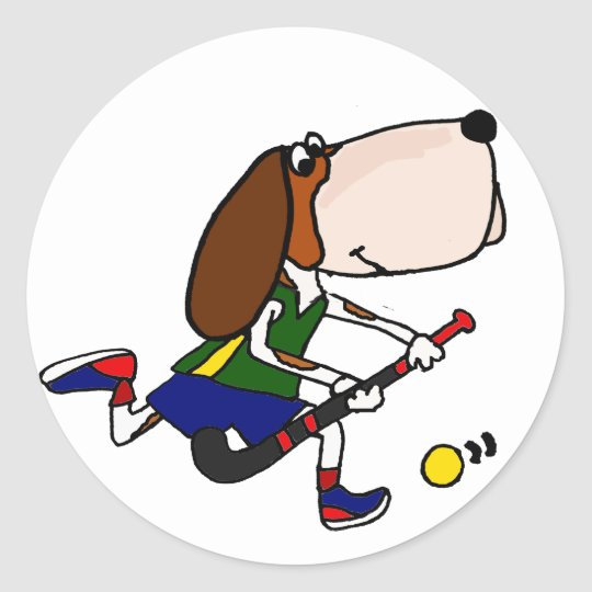 Funny Basset Hound Playing Field Hockey Art Classic Round Sticker