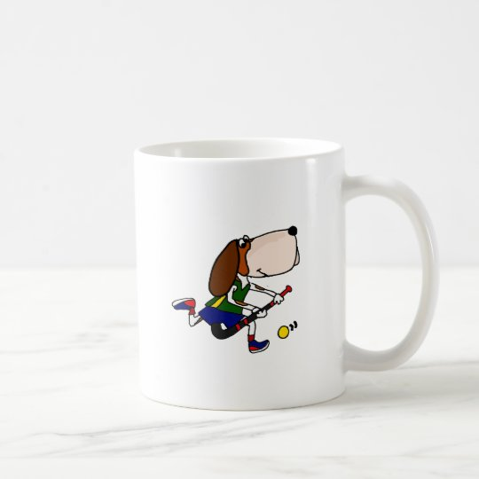 Funny Basset Hound Playing Field Hockey Art Coffee Mug