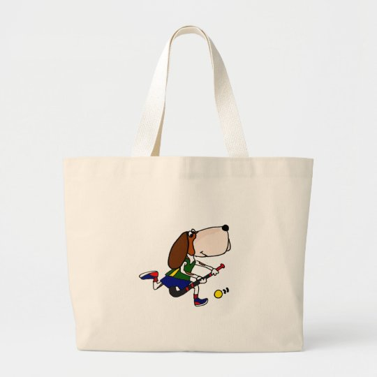 Funny Basset Hound Playing Field Hockey Art Large Tote Bag