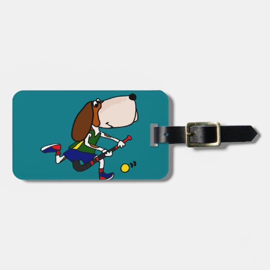 Funny Basset Hound Playing Field Hockey Art Luggage Tag