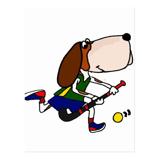 Funny Basset Hound Playing Field Hockey Art Postcard
