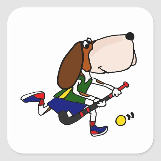 Funny Basset Hound Playing Field Hockey Art Square Sticker
