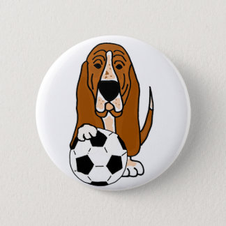 Funny Basset Hound Playing Soccer or Football 2 Inch Round Button