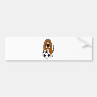 Funny Basset Hound Playing Soccer or Football Bumper Sticker