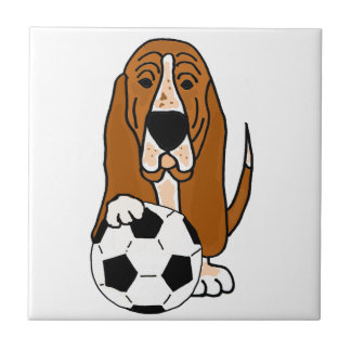 Funny Basset Hound Playing Soccer or Football Tile