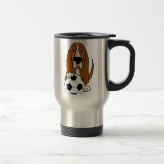 Funny Basset Hound Playing Soccer or Football Travel Mug