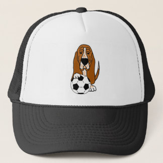 Funny Basset Hound Playing Soccer or Football Trucker Hat