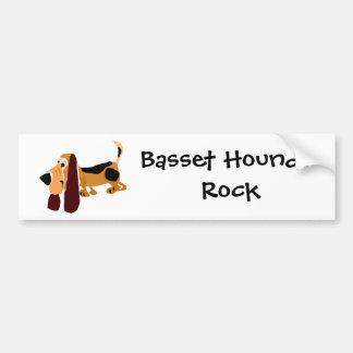 Funny Basset Hound Primitive Art Bumper Sticker