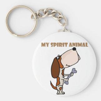Funny Basset Hound Spirit Animal Keychain