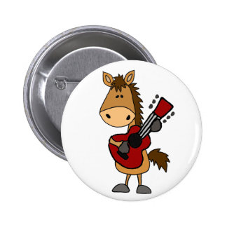 Funny Bay Horse Playing Guitar Art 2 Inch Round Button