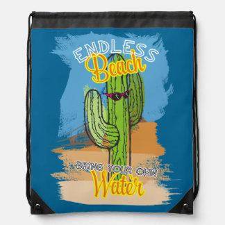 Funny beach cactus desert bring your own water drawstring bag