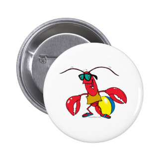 funny beach going  lobster cartoon 2 inch round button