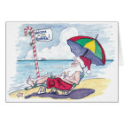 Funny Beach Santa Christmas Card