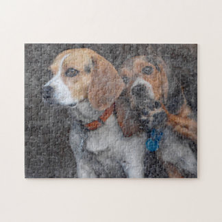 Funny Beagle Dirty Storm Door Jigsaw Puzzle