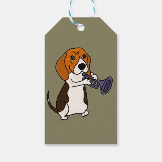 Funny Beagle Dog Playing Trumpet Gift Tags