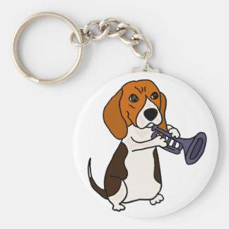 Funny Beagle Dog Playing Trumpet Keychain