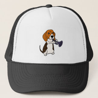 Funny Beagle Dog Playing Trumpet Trucker Hat