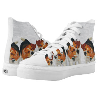 Funny Beagle Ears Flapping Beagle Line Dancing High Tops