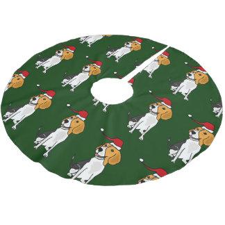 Funny Beagle in Santa Hat Christmas Tree Skirt Brushed Polyester Tree Skirt
