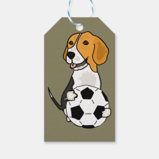 Funny Beagle Playing Soccer Gift Tags