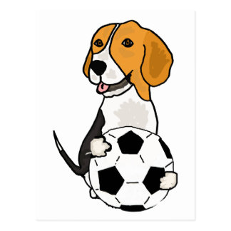Funny Beagle Playing Soccer Postcard
