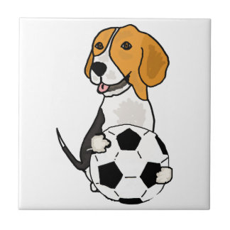 Funny Beagle Playing Soccer Tile