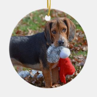 Funny Beagle Pup Took Santa's Hat Ceramic Ornament