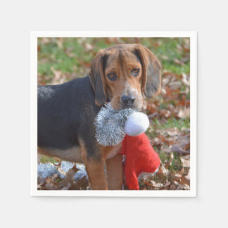 Funny Beagle Pup Took Santa's Hat Christmas Disposable Napkins