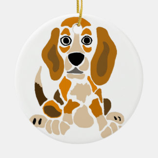 Funny Beagle Puppy Abstract Art Round Ceramic Ornament