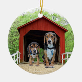 Funny Beagle Pups At The Red Covered Bridge Ceramic Ornament