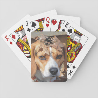 Funny Beagle With Leaves & Acorns on Head Poker Deck