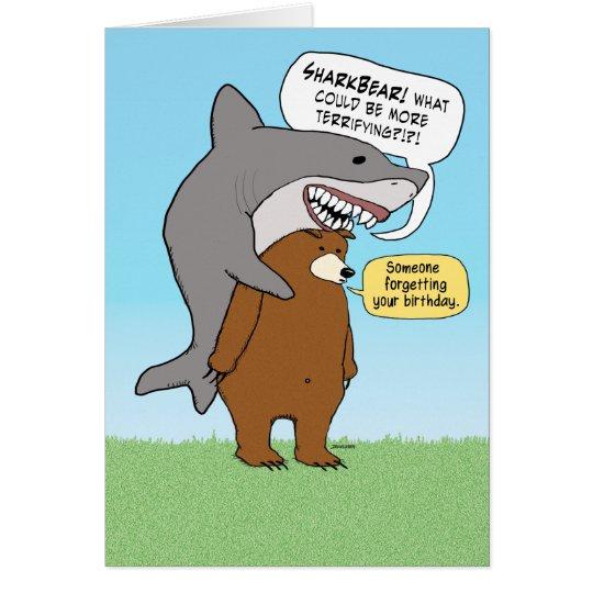 Funny bear and shark birthday card zazzle funny bear and shark birthday card bookmarktalkfo Gallery