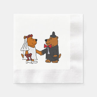 Funny Bear Bride and Groom Wedding Art Disposable Napkins