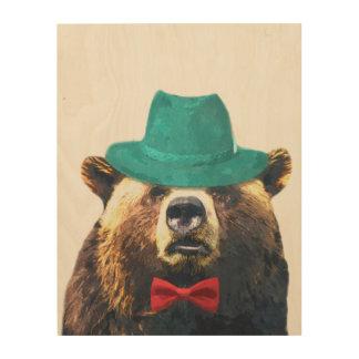 Funny bear cute woodland animal watercolor wood wall decor