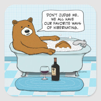 Funny Bear Drinking Wine, Relaxing in Tub Square Sticker