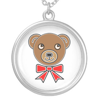Funny bear face silver plated necklace