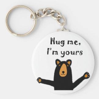 Funny Bear Ready for Hug Cartoon Basic Round Button Keychain