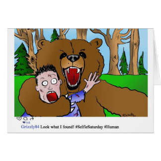 Funny Bear Taking a Selfie Blank Card