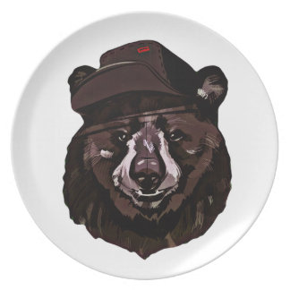 Funny Bear with Hat Plate