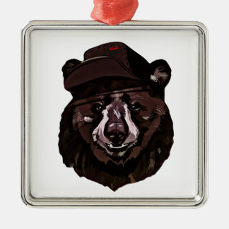 Funny Bear with Hat Silver-Colored Square Ornament