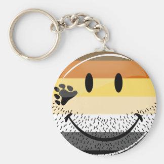Funny Bearded Happy Gay Bear Pride Flag Basic Round Button Keychain