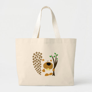 Funny Beaver Abstract Art Large Tote Bag